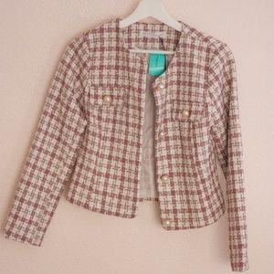 Tweed Coat Blush & Cream NWT